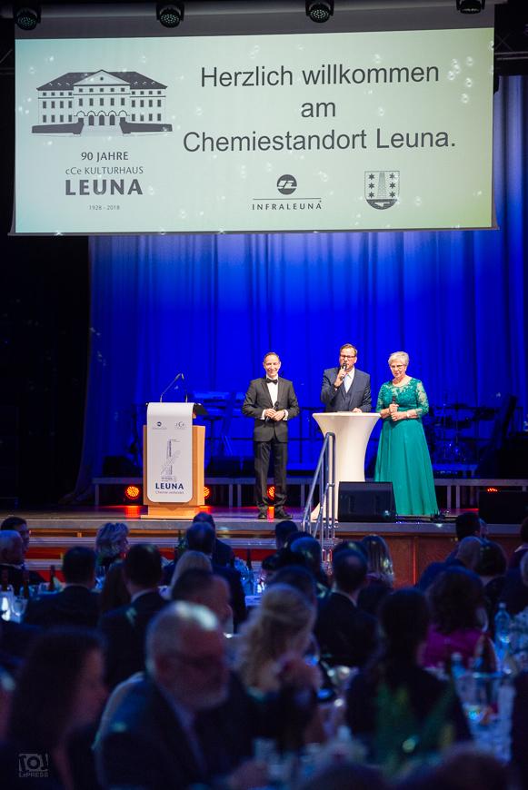 Dr. Christof Günther (Geschäftsführer InfraLeuna GmbH), Holger Tapper, Dr. Dietlind Hagenau - 7- Leunaer Wirtschaftsball 2018