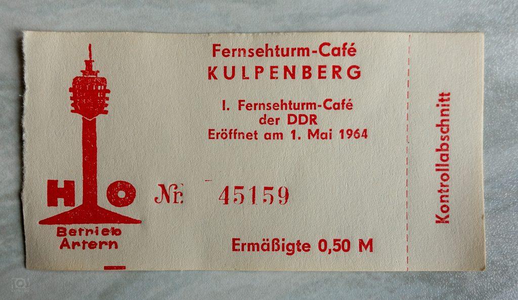 1. Fernsehturm-Café der DDR - Eintrittskarte Kulpenberg